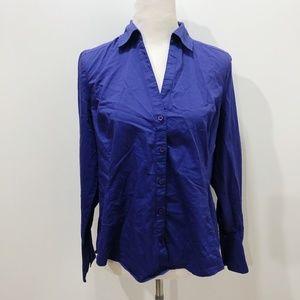 ANN TAYLOR Size 8 Shirt Solid Purple Long Sleeve
